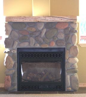 Montana Stream Stone Fireplace